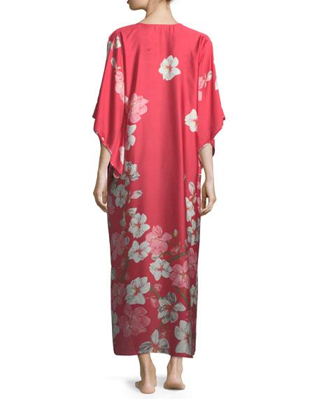 Magnolia Floral-Print Satin Caftan
