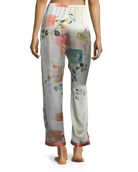 Watercolor Floral-Print Silk Lounge Pants