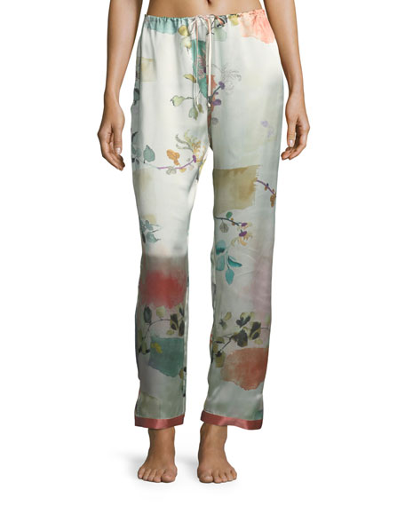 Josie Natori Watercolor Floral-Print Silk Lounge Pants