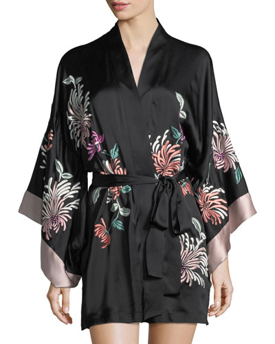 Chrysanthemum Embroidered Silk Robe