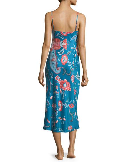 Xanado Floral-Print Satin Nightgown