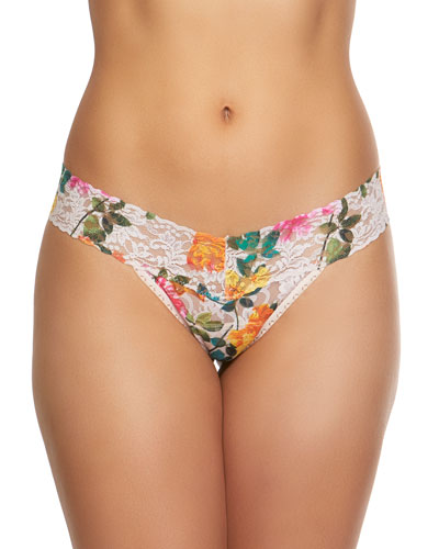 Melissa Floral-Print Low-Rise Lace Thong