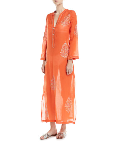 Flora Bella Daios V-Neck Cotton Gauze Kaftan Coverup