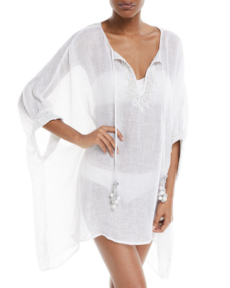 Stellaris Split-Neck Long-Sleeve Linen Caftan Coverup, One Size