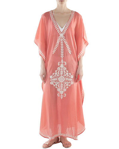 Saadi V-Neck Cotton Voile Kaftan Coverup w/ Embroidery