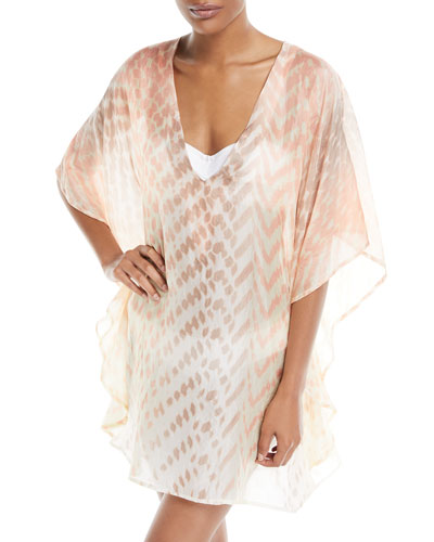 Vilar V-Neck Short Silk Kaftan Coverup