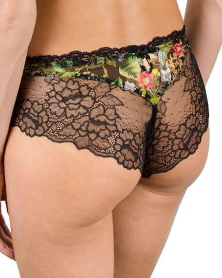 Fleur De Jungle Lace-Trim Boyshort Briefs