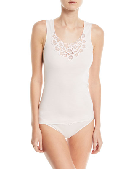 Hanro Summer Seamless Cotton Layering Tank with Lace