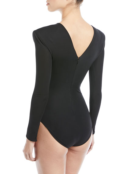 Long-Sleeve Bodysuit with Shoulder Pads