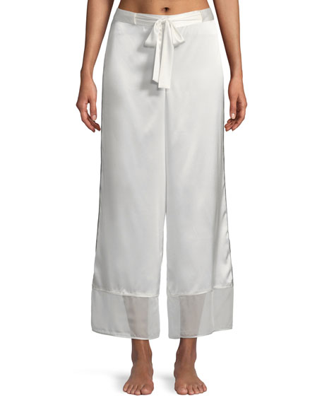 Josie Natori Sleek Silk-Blend Lounge Pants and Matching