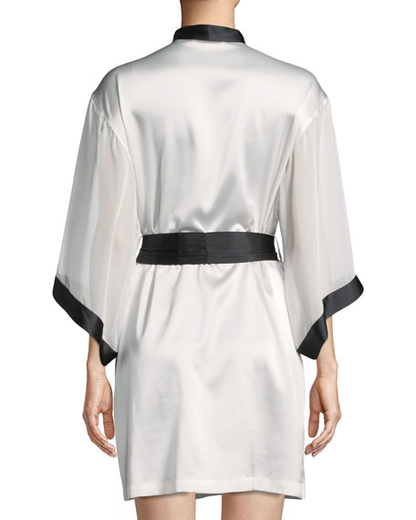Sleek Contrast Trim Silk-Blend Short Robe