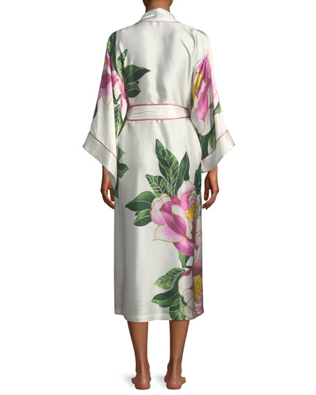 Clair de Lune Floral-Print Long Silk Robe