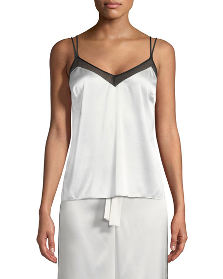 Sleek Chiffon-Trim Silk-Blend Camisole