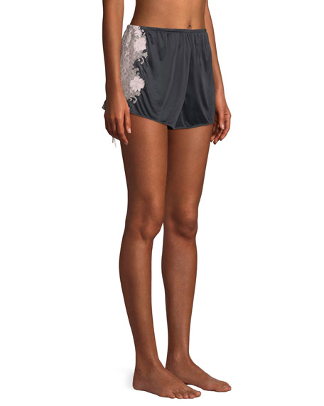Harlow Lace-Trim Slinky Jersey Lounge Shorts