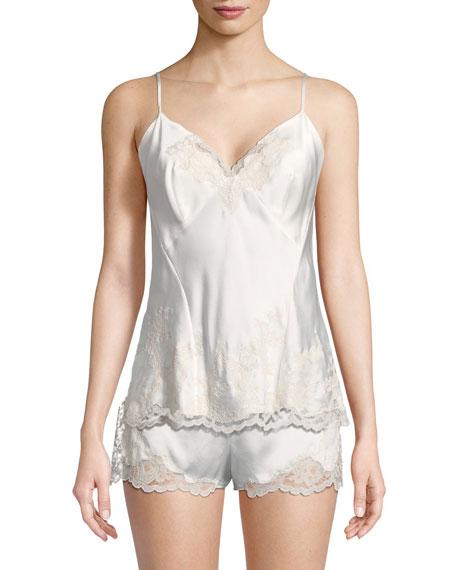 Camilla Lace-Trim Silk Camisole