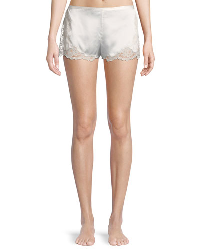 Camilla Lace-Trim Silk Lounge Shorts