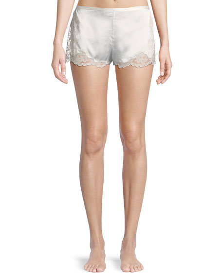 Josie Natori Camilla Lace-Trim Silk Lounge Shorts