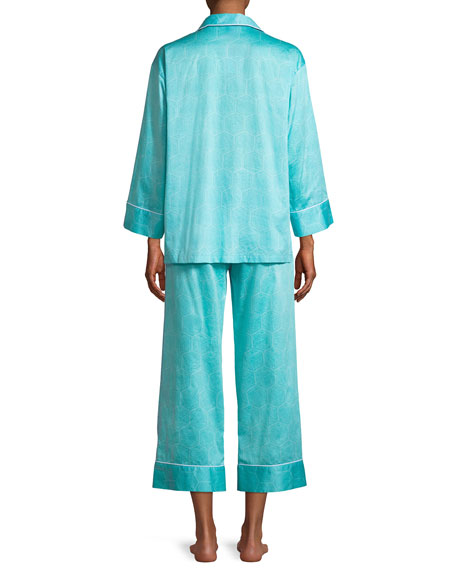 Fan Honeycomb-Print Sateen Classic Pajama Set