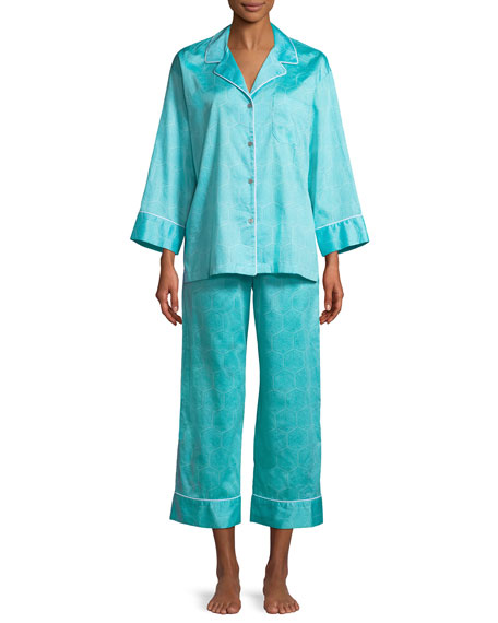 Fan Honeycomb-Print Sateen Classic Pajama Set