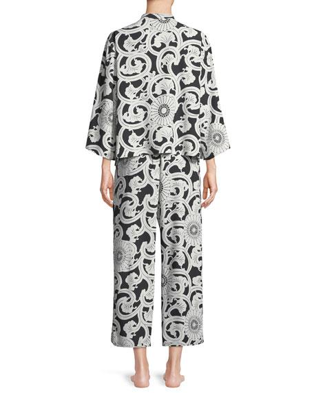 Silk Road Mandarin-Collar Satin Pajama Set