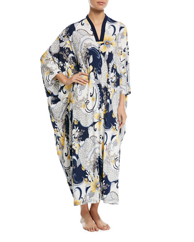 Butter Paisley-Print Beaded-Zip Caftan, Plus Size