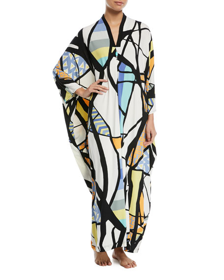 Art Deco-Print Beaded Zip-Front Caftan, Plus Size