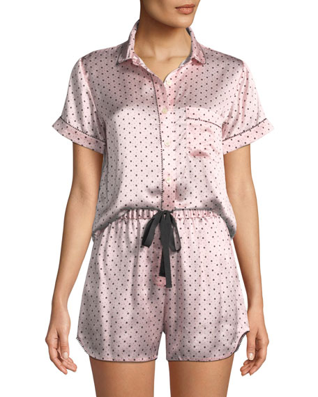 Starburst Rose Silk Pajama Top