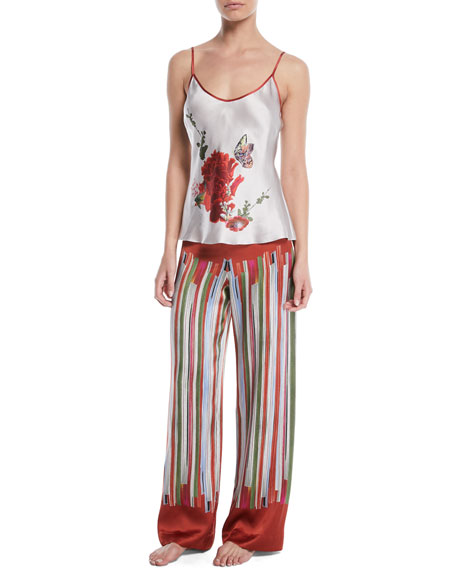 Striped Silk Pajama Trousers