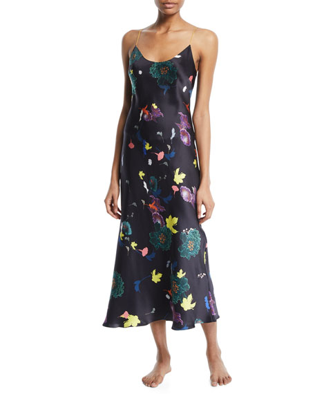 Floral-Print Silk Long Slip Nightgown
