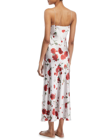 Rose-Print Silk Long Slip Nightgown
