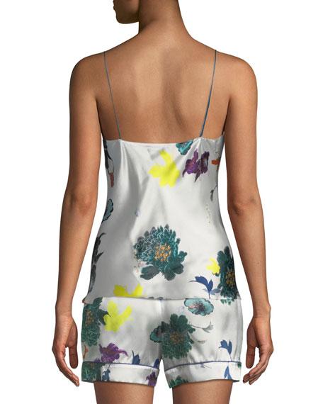 Floral-Print Silk Slip Top