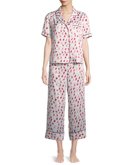 lipsticks cropped pajama set