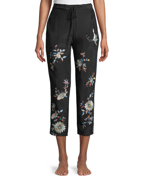 Mariposa Embroidered Silk Lounge Pants