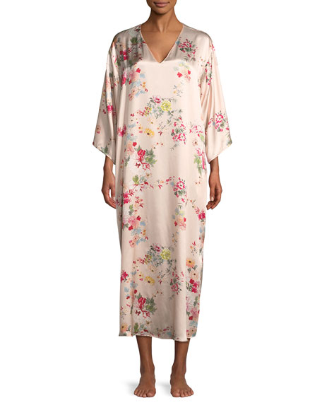 Perennial Floral-Print Silk Caftan