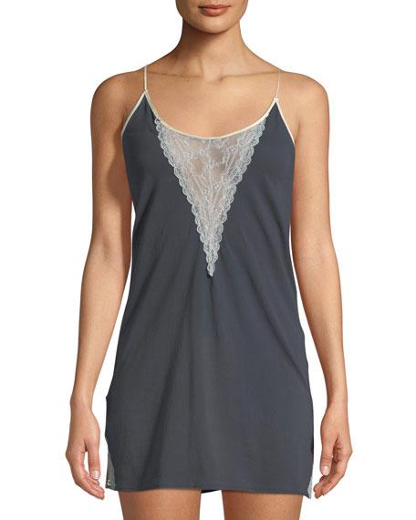 Skin Giada Lace-Inset Cotton Chemise