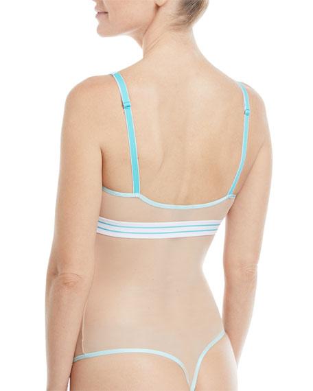 Bisou Striped-Elastic Lace-Trim Bodysuit