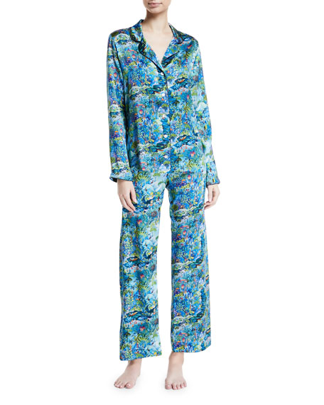 Derek Rose Brindisi Silk Pajama Set