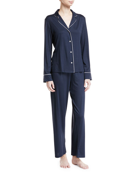 Derek Rose Carla Classic Piped Knit Pajama Set