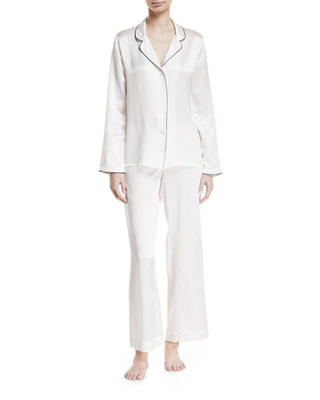 Derek Rose Bailey Piped Silk Pajama Set