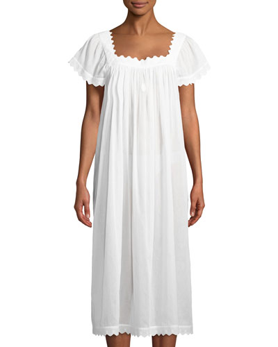 Antigone Cap-Sleeve Long Nightgown