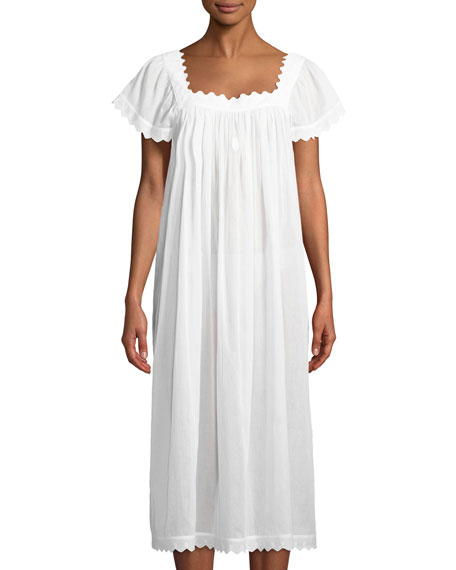 Celestine Antigone Cap-Sleeve Long Nightgown