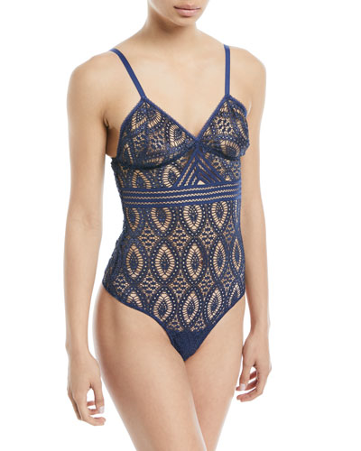 Baroque Geometric-Lace Bodysuit
