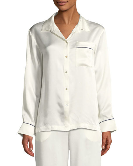 Asceno Contrast-Piping Silk Pajama Top