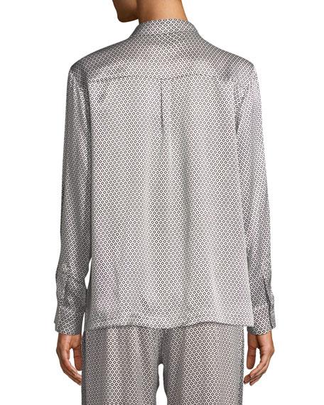Monochrome Geometric-Print Silk Long-Sleeve Pajama Top
