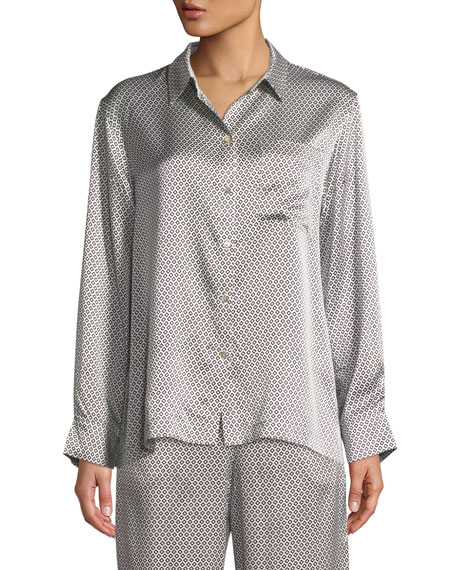 Asceno Monochrome Geometric-Print Silk Long-Sleeve Pajama Top
