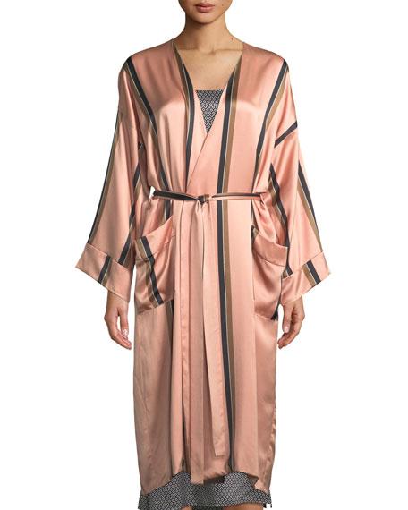 Asceno Bold Striped Classic Silk Robe