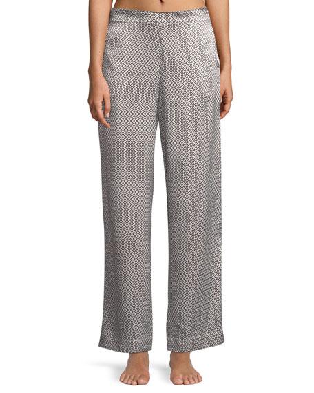 Asceno Monochrome Geometric-Print Wide-Leg Silk Pajama Pants