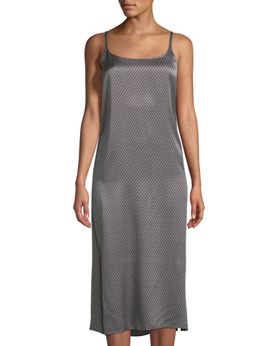 Monochrome Geometric Silk Nightgown