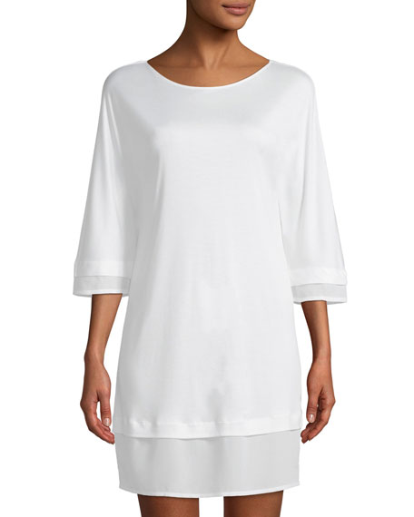 Ayana 3/4-Sleeve Silk-Trim Nightgown