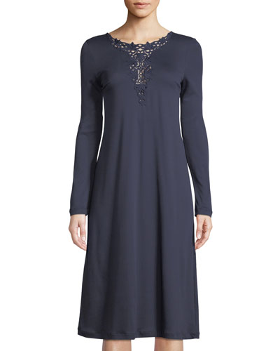 Jasmin Embroidery-Inset Long-Sleeve Nightgown